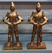Sale 8320 - Lot 920 - Pair of decorative gilt metal knights in armour 1970s