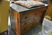 Sale 8335 - Lot 1020 - Charles X Cherry Wood Commode, with black marble top & four drawers flanked by columns