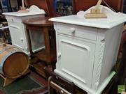 Sale 8495F - Lot 1030 - Pair of Painted Bedside Cabinets