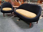 Sale 8625 - Lot 1093 - Retro Two Seater Sofa & Matching Tub Chair (Sofa W: 138cm) -