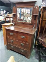 Sale 8657 - Lot 1053 - Timber Mirrored Back Dressing Table with Four Drawers