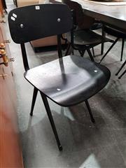 Sale 8724 - Lot 1031 - Set of Six Black Metal School Chairs