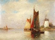 Sale 8791A - Lot 5076 - Dutch School (C20th) - Sailing Boats & Windmill 39 x 43cm