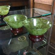 Sale 8795K - Lot 225 - A pair of spinach green jade bowls on stands