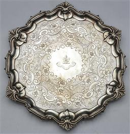 Sale 9093 - Lot 29 - Hallmarked Sterling Silver Tri-Footed Salver, London, c.1897 by William Hutton & Sons Ltd (wt. 460.5g)