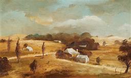Sale 9116 - Lot 598 - Stuart McKenzie Cullen (1933 - ) Cattle & White Geese on the Hill End Farm, 1975 oil on board 26.5 x 44 cm (frame: 42 x 60 x 3 cm) s...