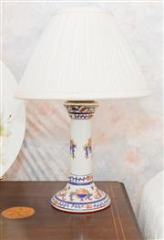 Sale 8346A - Lot 219 - A pair of Italian pottery table lamps with cream pleated shades