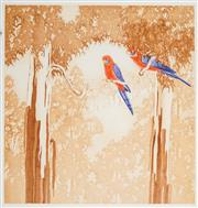 Sale 8492A - Lot 5001 - Peter Hickey (1943 - ) - Rosellas, 1990 51.5 x 49.5cm