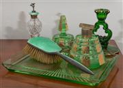 Sale 8595A - Lot 97 - A collection of green glass and enamelled dressing table wares including candle stick, perfume atomiser, etc