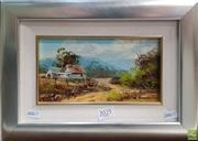 Sale 8604 - Lot 2025 - John Hingerty (2 works) - Near Kendall; Kalang River Bank oils on canvas board, 26 x 36cm (frame sizes), signed lower, each. -