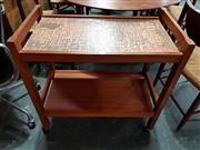 Sale 8801 - Lot 1014 - Teak Tea Trolley with Pressed Copper Top