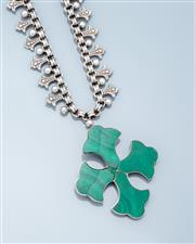 Sale 9037F - Lot 77 - A VINTAGE SILVER MALACHITE CROSS PENDANT ON FLEUR  DE LIS CHAIN;  cross set with malachite (cracks), 58 x 50mm, on a 16mm wide fleur...