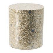 Sale 9075T - Lot 44 - A Cylindrical shaped stool in a neutral finish and dot pattern.  Curved frame.  H: 40x W: 35x D: 35