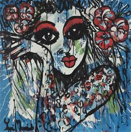 Sale 9157A - Lot 5022 - YOSI MESSIAH (1964 - ) Elegance Power Girl, 2020 mixed media on board (unframed) 85 x 85 cm signed lower left, dated and titled verso