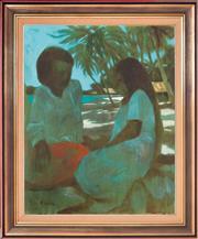 Sale 8394 - Lot 559 - Ray Crooke (1922 - 2015) - Untitled (Islanders) 75.5 x 60cm