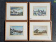 Sale 8619 - Lot 2063 - Graham Dodd (1933 - 2006) (4 works) Country Lane; Barges: Hambridge Meadow, England; Farms, decorative prints, 25 x 29cm, each (fr...