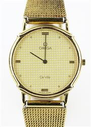 Sale 8790 - Lot 370 - AN OMEGA DEVILLE QUARTZ WRISTWATCH, in gold plated stainless steel with chequerboard dial, applied markers, 6 jewel quartz movement,...