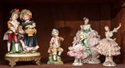 Sale 8804A - Lot 78 - A Zitzendorf porcelain group with brass mound together with other crinoline figures, tallest 17cm
