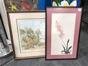 Sale 8816 - Lot 2093 - 2 Works: Chinese Still Life Watercolour together with another watercolour Overlooking the Bay by L. Orenstein