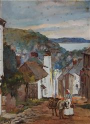 Sale 9001 - Lot 575 - Alfred Smith (1853 - 1932) - Village Scene with a Woman & a Donkey 29 x 21 cm (frame: 46 x 39 x 5 cm)