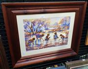 Sale 9019 - Lot 2027 - Kate Watkins Aboriginal Children Playing, watercolour frame: 42 x 53 cm, signed and dated lower right