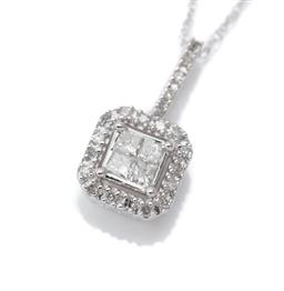 Sale 9124 - Lot 389 - A 10CT WHITE GOLD DIAMOND PENDANT NECKLACE; emerald shape pendant centring 4 princess cut diamonds to surround and bale set with 21...