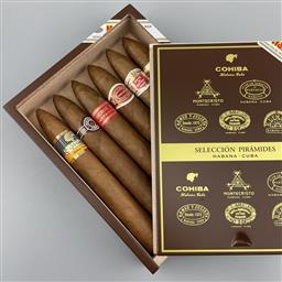 Sale 9250W - Lot 759 - Combinaciones Seleccion Piramides Cuban Cigars - gift box of 6 cigars including Romeo y Julieta, Cohiba, Hoyo de Monterrey, Montecri...