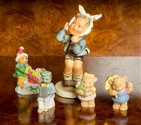 Sale 8392H - Lot 66 - A Goebel figure of a child with a tooth ache together with sundry teddy bear figures