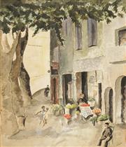 Sale 8587 - Lot 2063 - Artist Unknown - European Street Scene, watercolour, 64.5 x 54cm