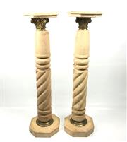 Sale 8795K - Lot 228 - A pair of stone plinths with spiral decoration to column
