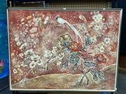 Sale 8888 - Lot 2057 - K. McDonogh Chinese Still Life - Long Tailed Bird and Blossoms, 95 x 125cm (frame).