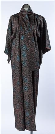 Sale 9003F - Lot 98 - A Vintage Black Kimono with Sparkling Stylised Wheat Motif with white and pink silk lining