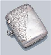 Sale 9037F - Lot 6 - AN EDWARDIAN HALLMARKED SILVER VESTA CASE; engraved 48 x 35mm case (some dents), marked J&C Birmingham, 1904, wt. 25.26g.