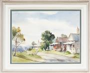 Sale 9045 - Lot 2078 - Alison Faulkner (1918 - ) - Cottages at Hartley, Blue Mountains 32 x 42 cm (frame: 46 x 56 x 5 cm)