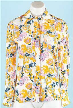 Sale 9091F - Lot 29 - A KAREN WALKER CREAM FLORAL SHIRT; 100% silk, size US0 UK4