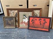 Sale 9061 - Lot 2070 - Four works, including an original oil by Nick Petali of a landscape, a Chinese watercolour on fabric-af, a Collage of a landscape an...