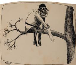 Sale 9125 - Lot 577 - Martin Sharp (1942 - 2013) President Sokarmo of Indonesia, c1960s ink on paper 21 x 27.5 cm (frame: 30 x 40 x 1 cm) signed lower right