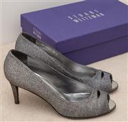 Sale 8595A - Lot 100 - A pair of Stuart Weitzman silver peep toe heels, size 39.5, near new in box