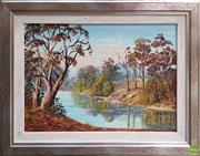 Sale 8604 - Lot 2026 - Vera Spicer By the Riverbank oil on board, 64 x 75cm (frame) signed lower left