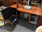 Sale 8859 - Lot 1037 - Vintage Teak Dining Suite with 4 Upholstered Chairs