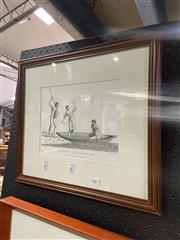 Sale 8936 - Lot 2067 - Robert Cleveley, Natives in Botany Bay, Engraving Framed, 18.5x23cm
