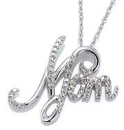 Sale 9046 - Lot 377 - A STERLING SILVER DIAMOND PENDANT NECKLACE; featuring a 19 x 22mm Mom set with single cut diamonds totalling 0.20ct.