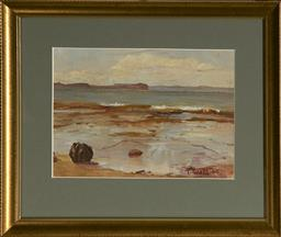Sale 9091 - Lot 2022 - T. Watts Rock Pools, 1940 oil on board, frame: 28 x 34cm, signed and dated -
