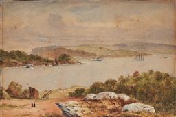 Sale 9099A - Lot 5091 - Australian School C19th - Harbour Scene, 1887 16.5 x 26 cm