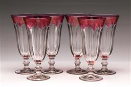 Sale 9110 - Lot 77 - A suite of Amethyst flashed Bohemian thumb mould stemware, (12) h 18cm