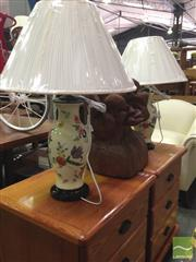 Sale 8412 - Lot 1036 - Pair of Belgian Floral Hand Painted Lamps (3403)