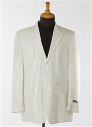 Sale 8550F - Lot 10 - Two Rossini, Beverley Hills 100% linen gentlemens tailored single breasted jackets, one pin striped, both L.