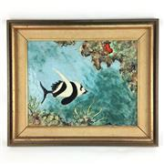 Sale 8545N - Lot 194 - Handpainted Framed Tile Artwork, signed Back (Tile Size: 39cm x 31cm)