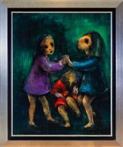 Sale 8562A - Lot 43 - David Boyd - Three Children Playing 102 x 82cm