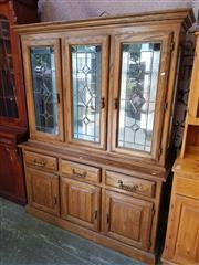 Sale 8676 - Lot 1184 - Timber Bookcase with Three Glass Panel Doors Above Three Drawers & Doors